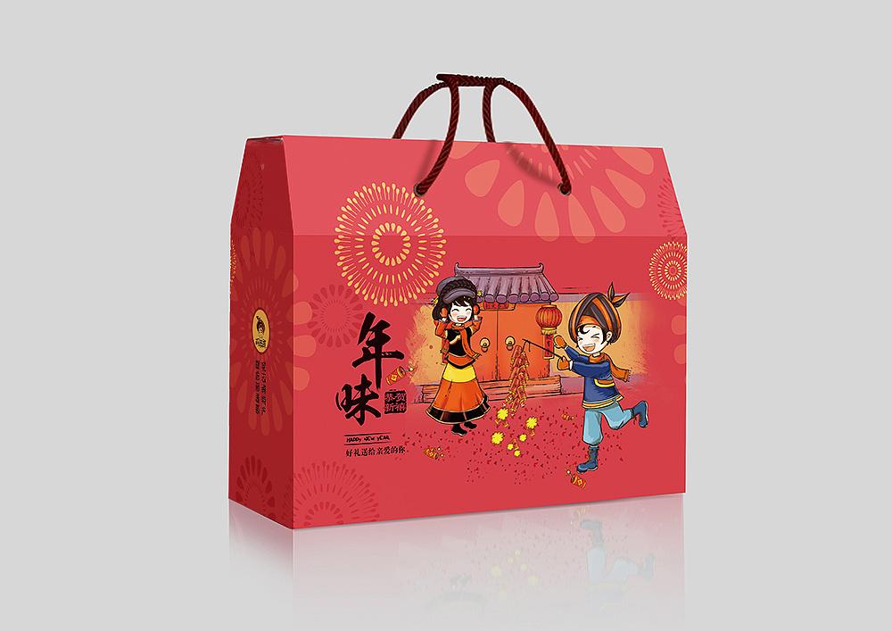 手绘漫画年货包装手提礼盒设计