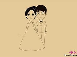 线条手绘风格婚礼动画视频--我们的故事