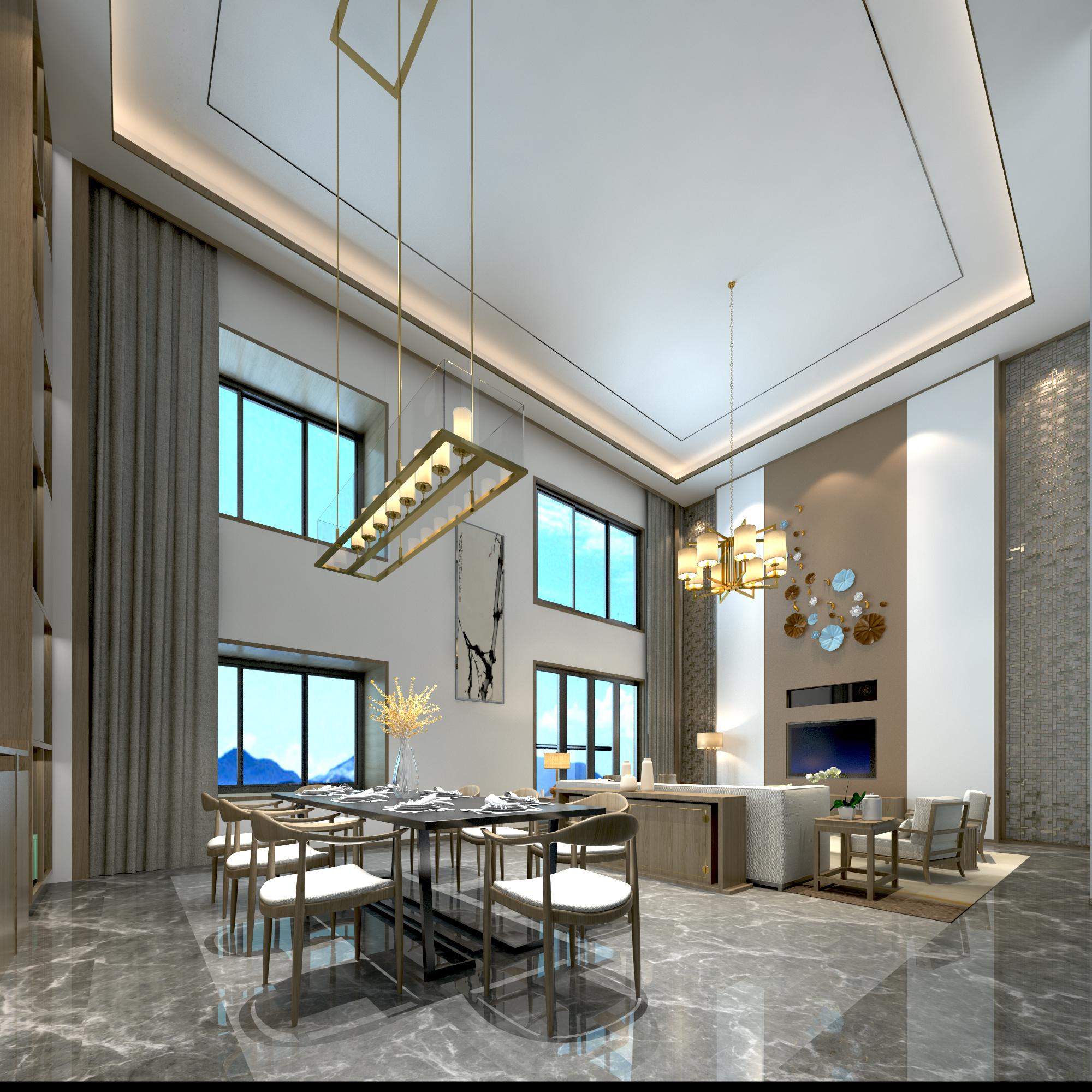 新中式客厅|空间|室内设计|春作 - 临摹作品 - 站酷