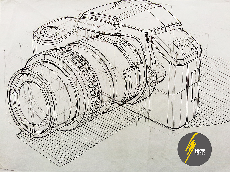 原创作品:手绘单反相机线稿——工业设计产品手绘 (内含作画视频)