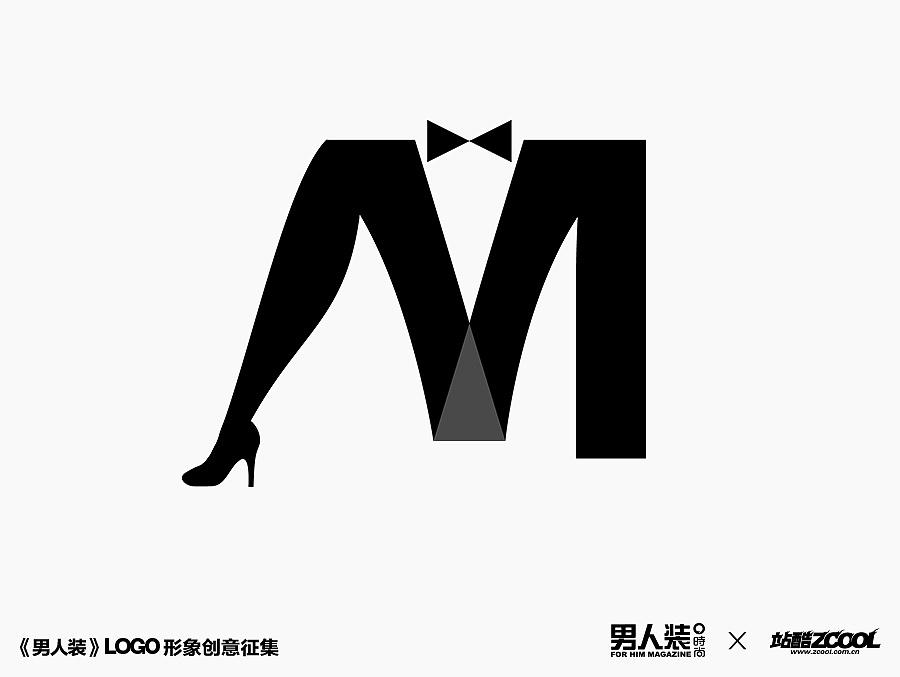 整个m字母蝴蝶结,西服可以是绅士的上身;女性的小腿,高跟鞋和三角形小