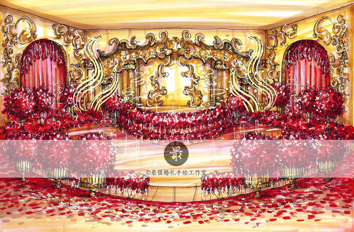 【婚礼手绘】纸面手绘—红金展示区效果图|空间|舞台