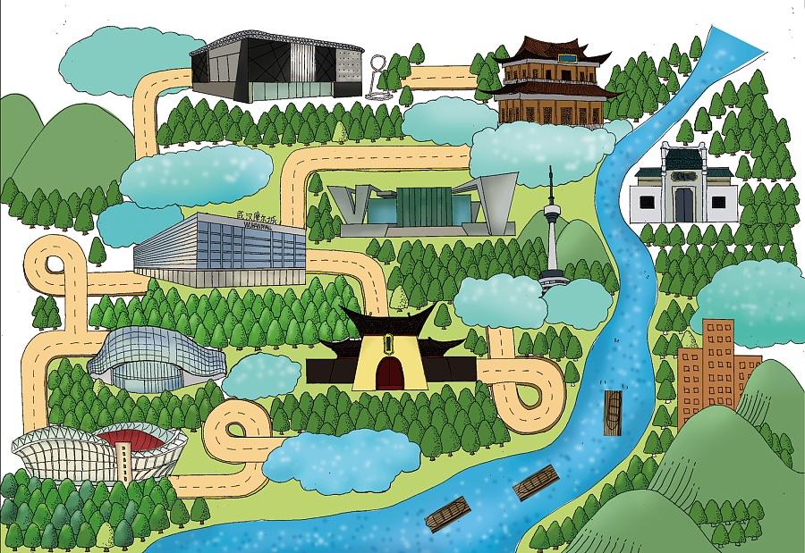 武汉手绘旅游地图|图形/图案|平面|周容gr