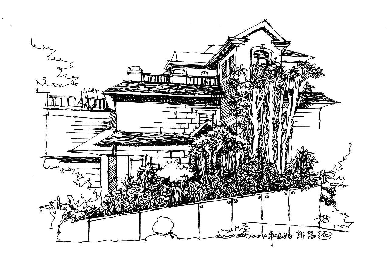 别墅图片写生加线稿手绘