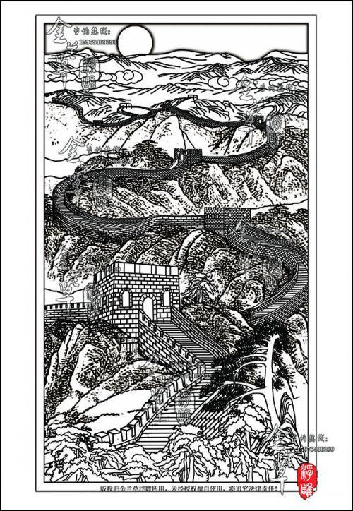 设计在局部上,以画面左下侧黄金分割点的长城烽火台为整个画面的中心图片