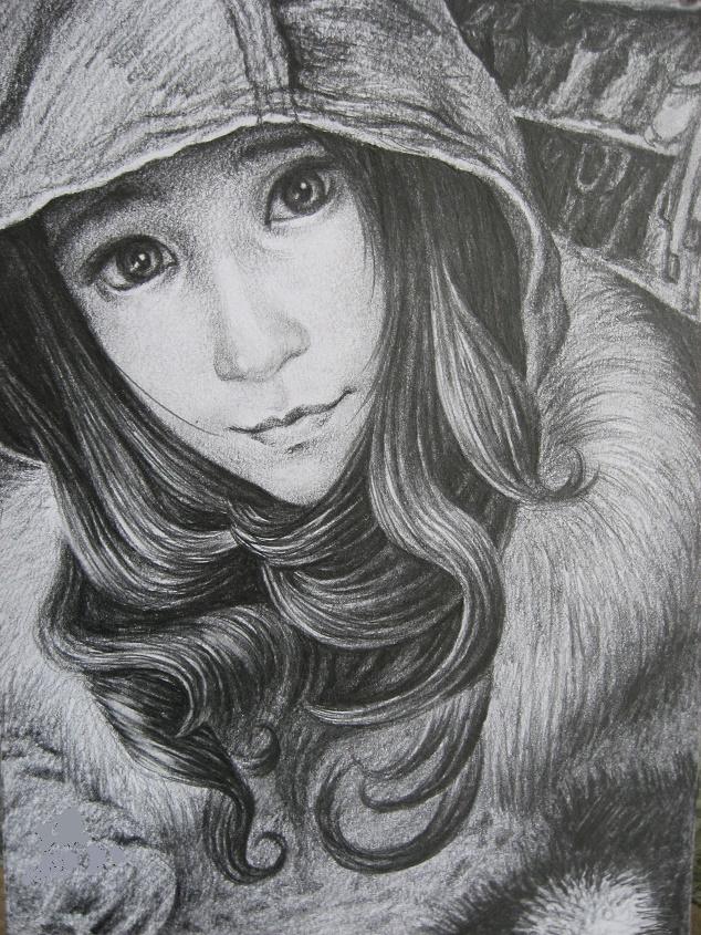 少女素描动态|图片|纯天气|阿瑟王-原创v少女作的冷艺术包头像表情素描冬天图片
