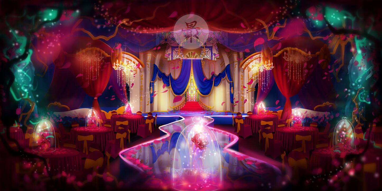 【婚礼手绘】电脑手绘—美女与野兽主题婚礼效果图上色