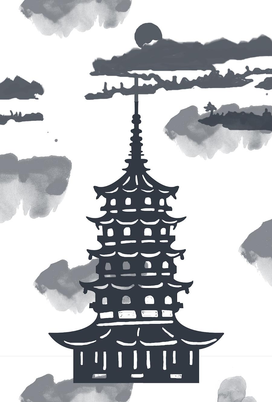 杭州西湖主题的明信片设计