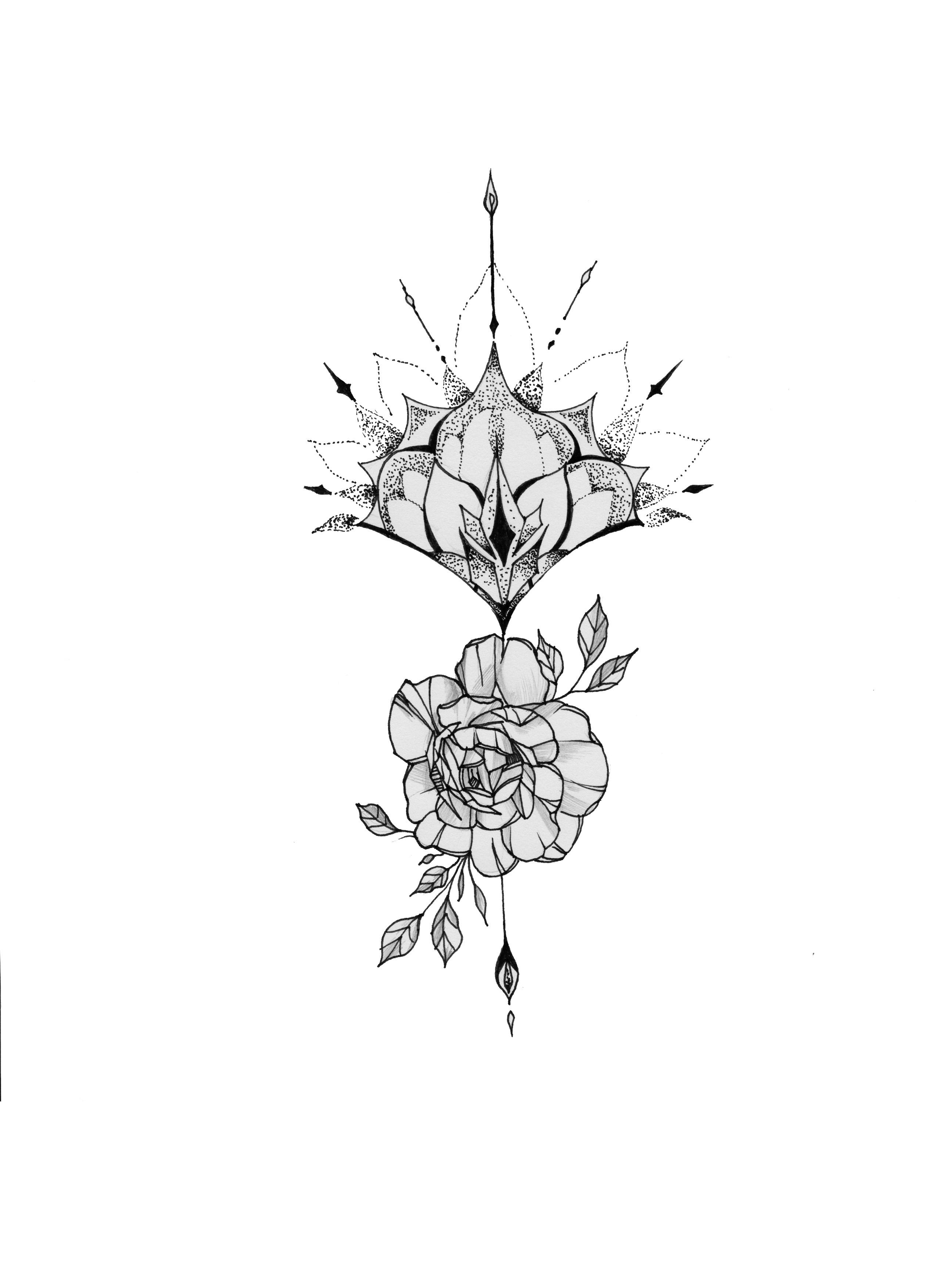【守护之花】原创小手臂内侧纹身手稿