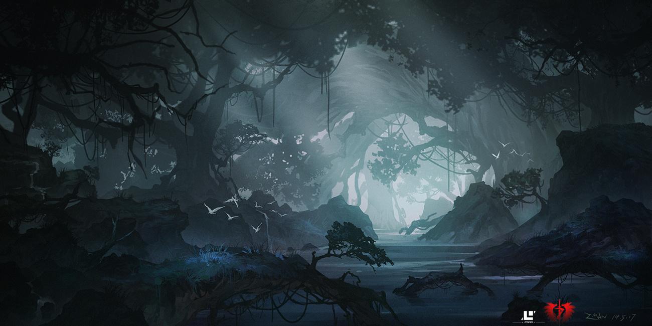 手绘树林星空图片高清