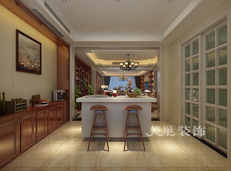 正商红河谷新中式风格装修样板间,大平层早餐台图片