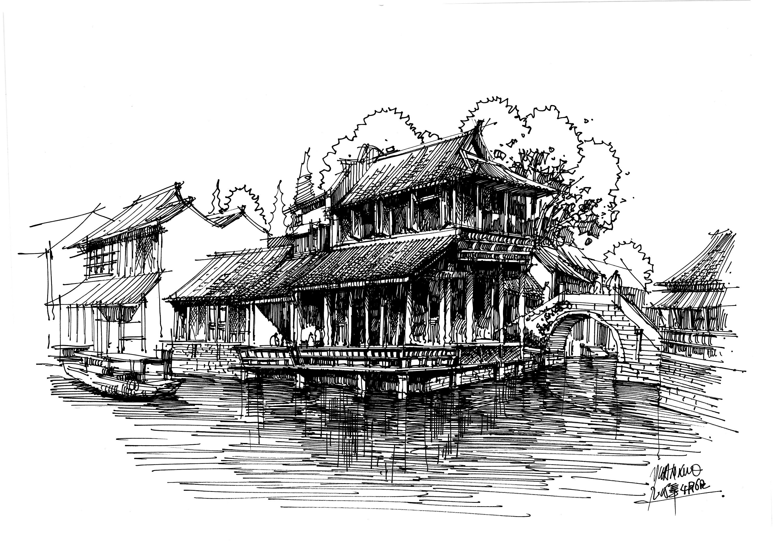 白鹿猿钢笔手绘---东方建筑情节|插画|商业插画|白鹿