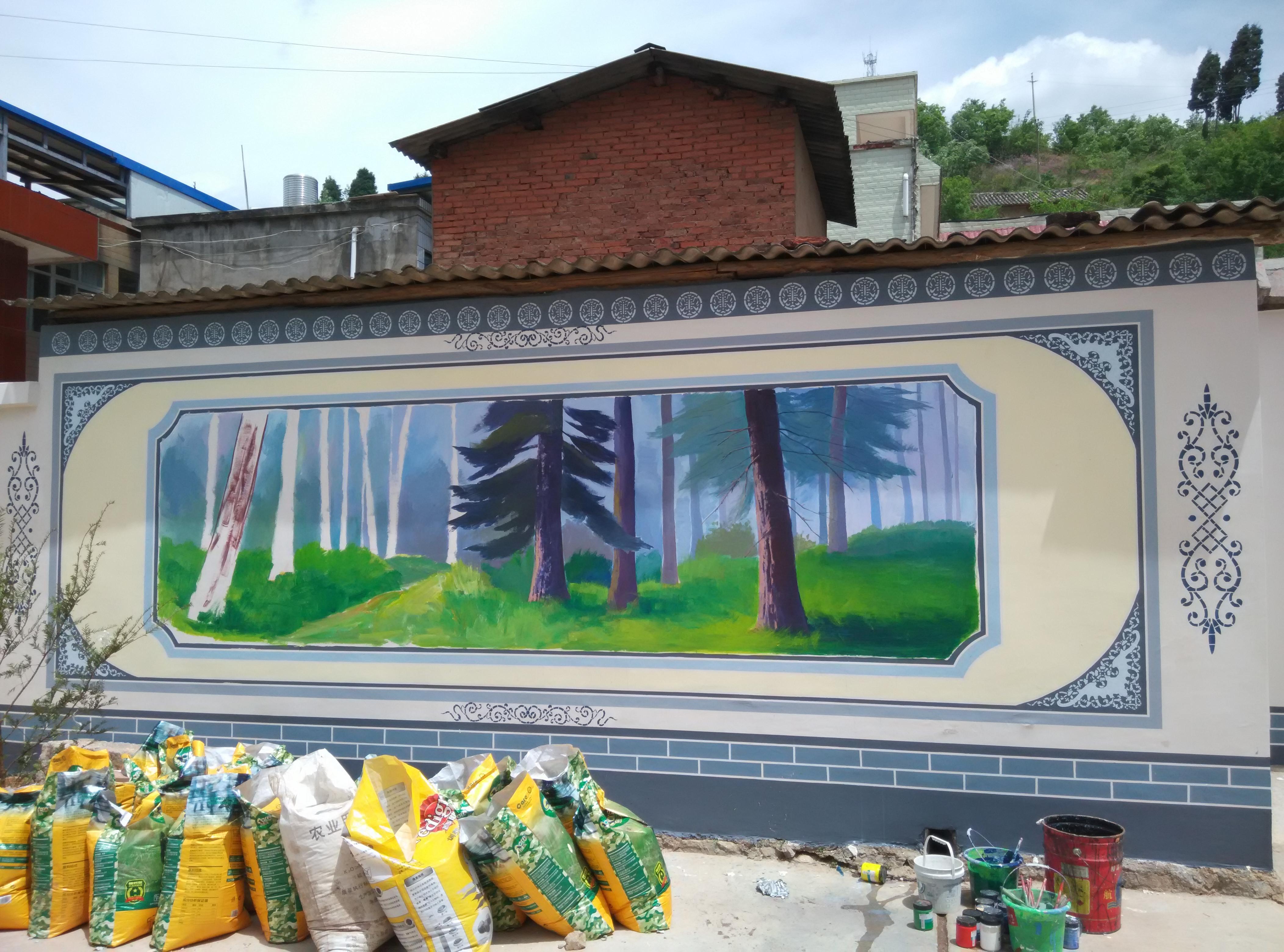 建设墙体彩绘手绘壁画墙画设计制作公司锦泰彩绘昆明美丽乡村建设彩绘