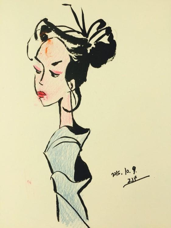 手绘—《墨迹女生》|纯艺术|水彩|jenniferfer - 原创
