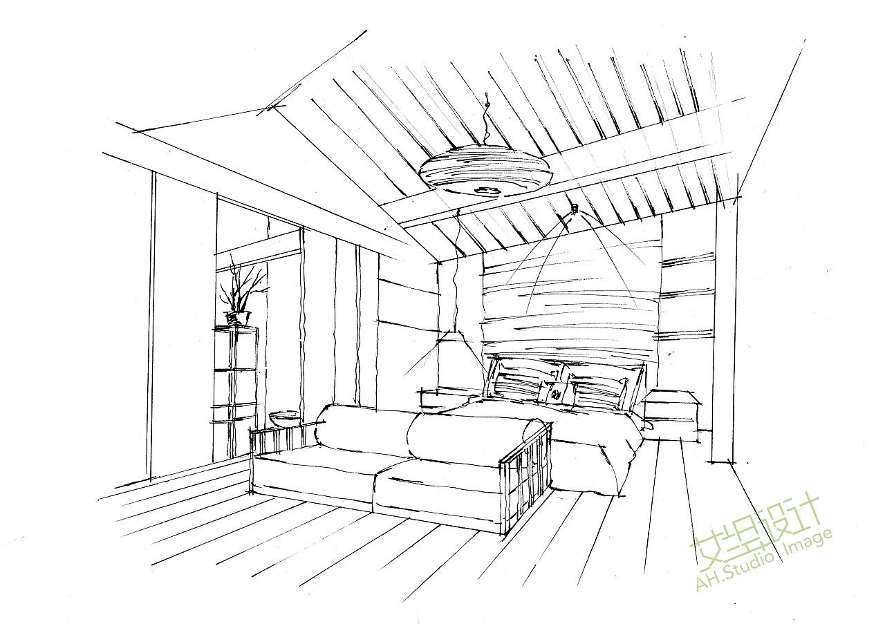 艾绘设计-酒店客房马克笔教程步骤分享 空间 室内设计