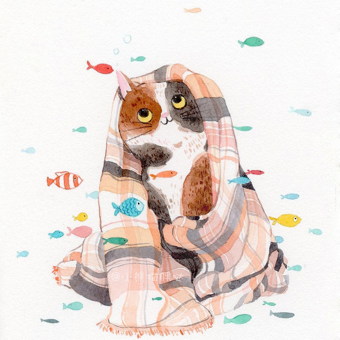 【小熊猫】水彩手绘人物水彩教程猫咪手绘猫与鱼图片