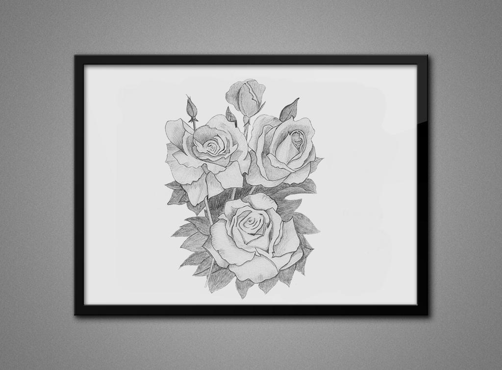 玫瑰花,老鹰,手绘素描