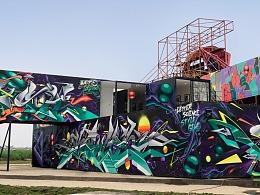 MTS涂鸦团队-湖南Wallskar涂鸦艺术节集装箱涂鸦创作