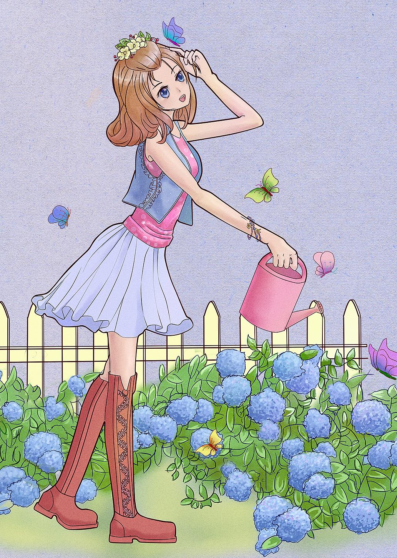 春天的少女 插画 插画习作 雪中葡萄000 - 原创作品图片