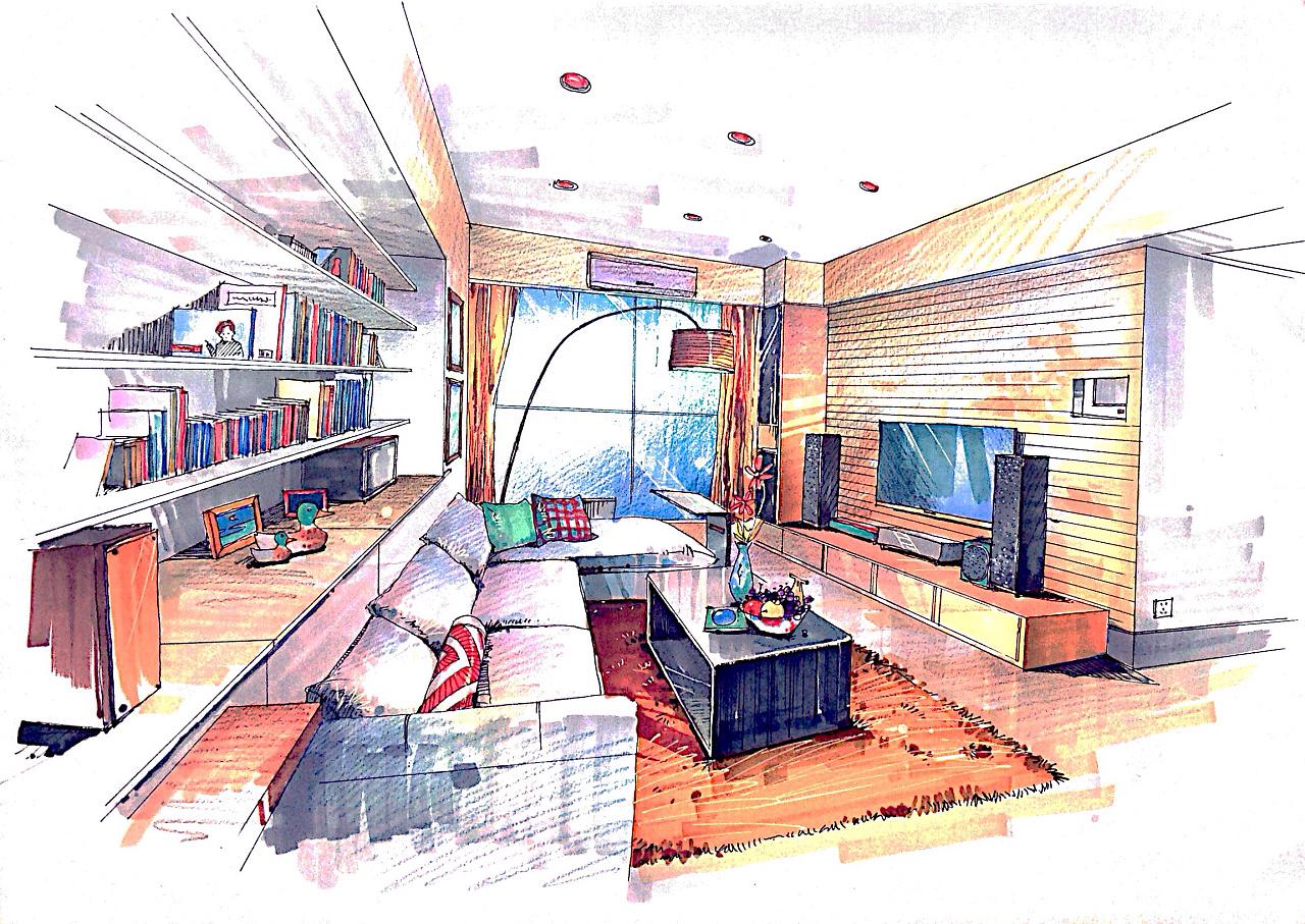 室内设计效果图线手绘_室内手绘效果图 空间 室内设计 語MOW - 原创作品 - 站酷 (ZCOOL)