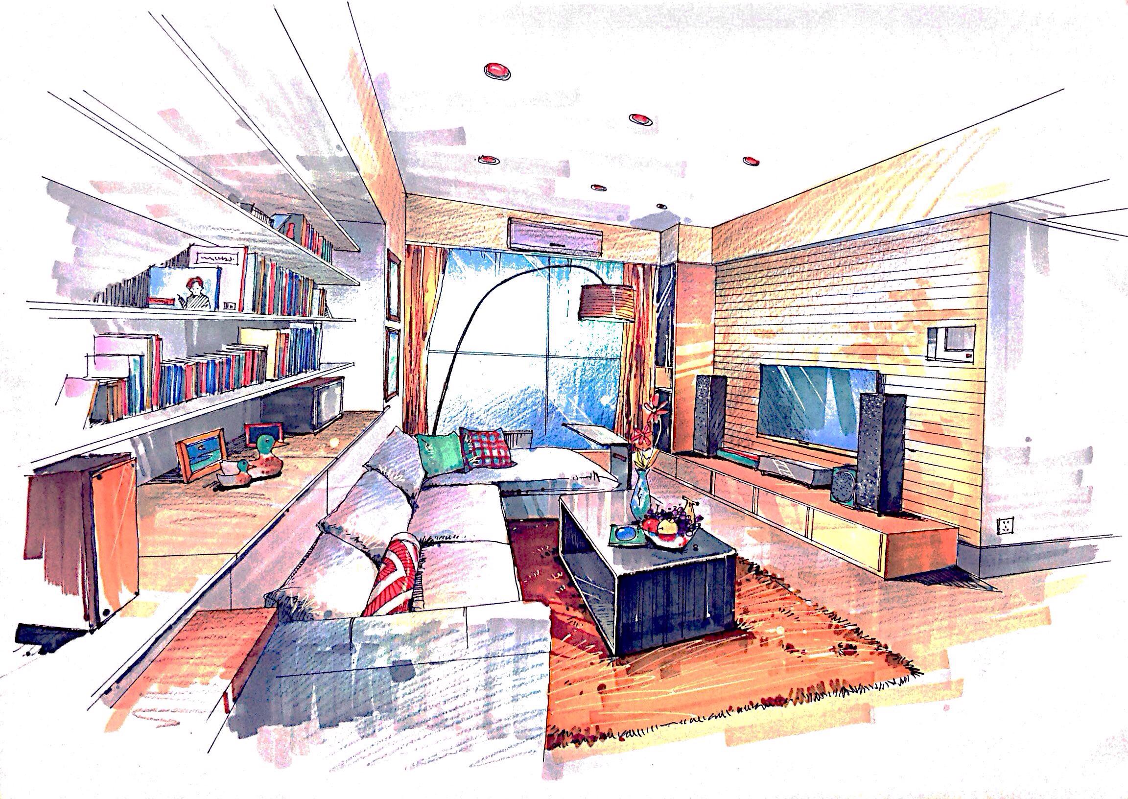 室内手绘效果图|空间|室内设计|语mow - 原创作品