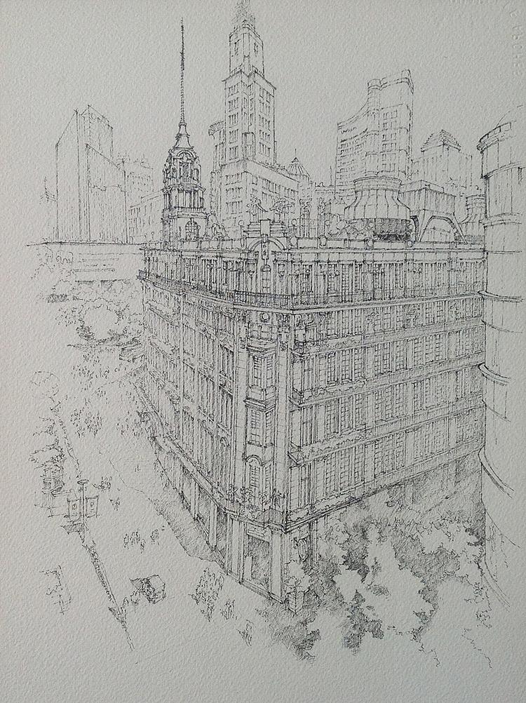 建筑手绘—上海街道俯视 (线稿过程)图片