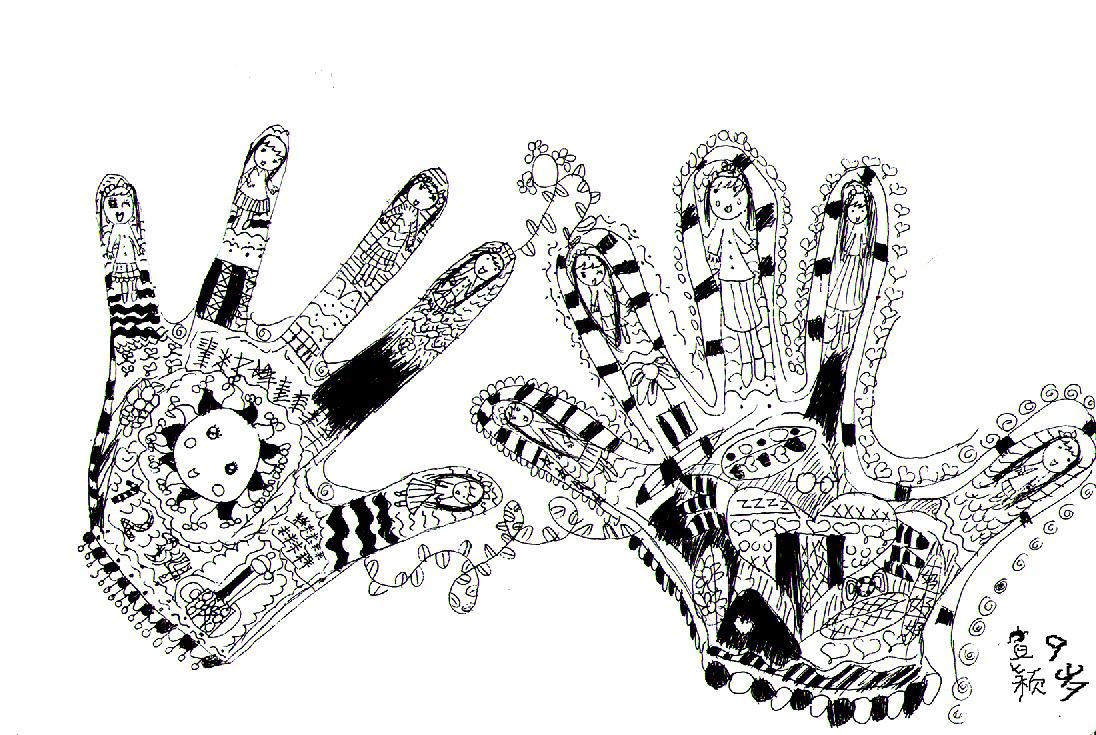 学生黑白花手套装饰画