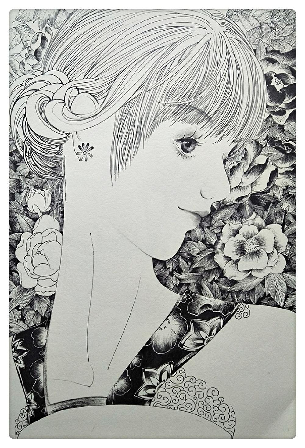 黑白线描人物插画|插画|其他插画|my柠檬 - 原创作品