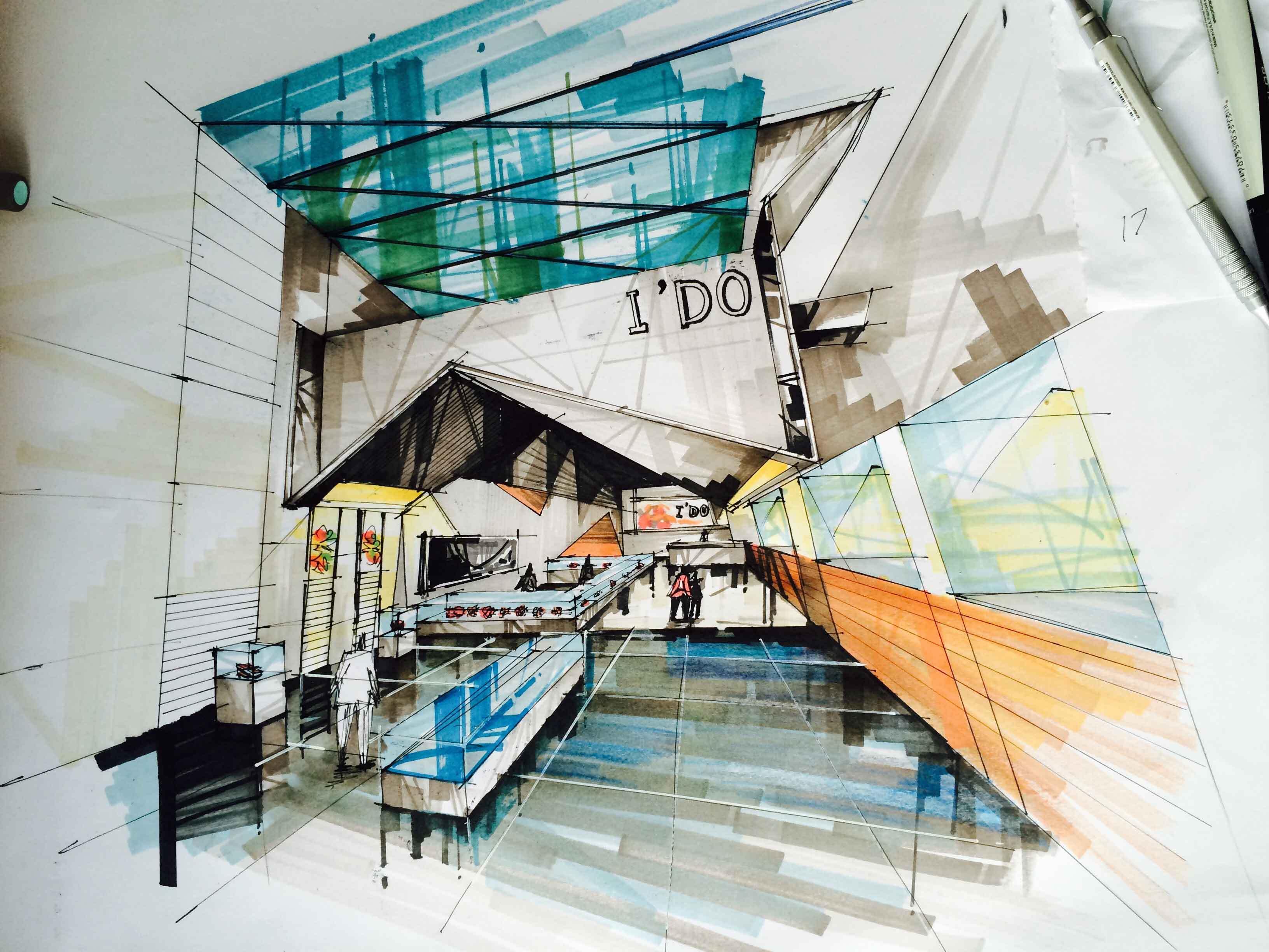室内手绘 空间 室内设计 牛东海 - 原创作品 - 站酷