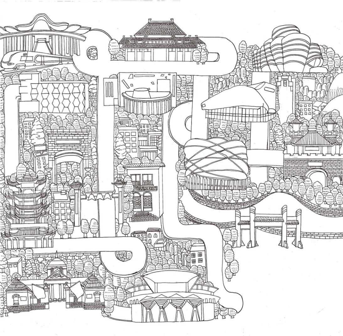 武汉手绘旅游地图