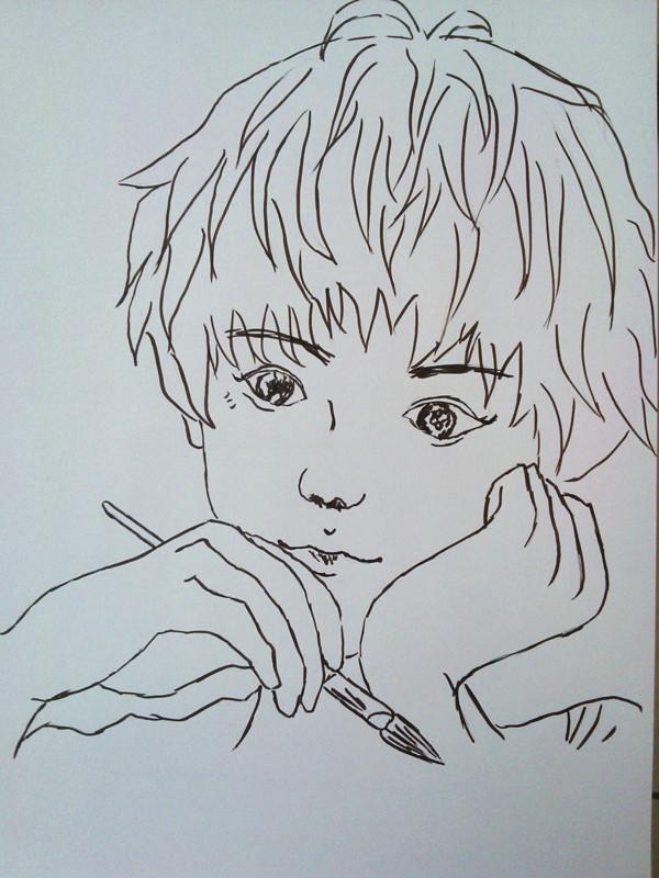 手绘素描短发头像