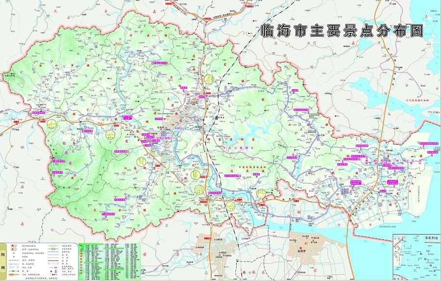 浙江省浙江临海市旅游手绘地图
