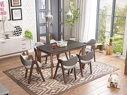 今天六一,再来一波北欧风格实木餐桌椅设计图,3D
