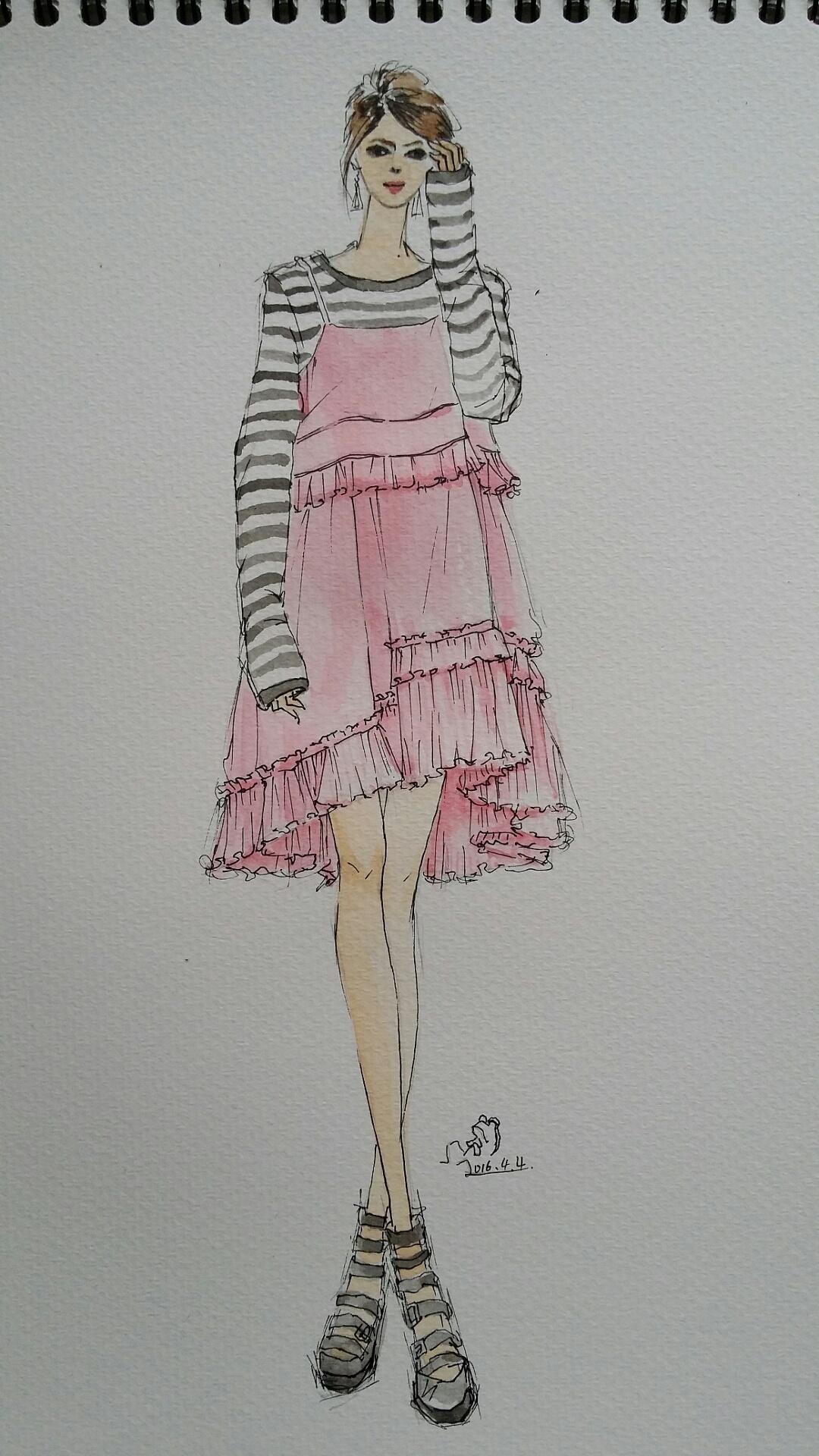 手绘时装插画(春季女装搭配)