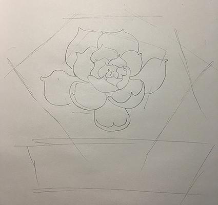 手绘彩绘过程多肉植物临摹4初学自学教程