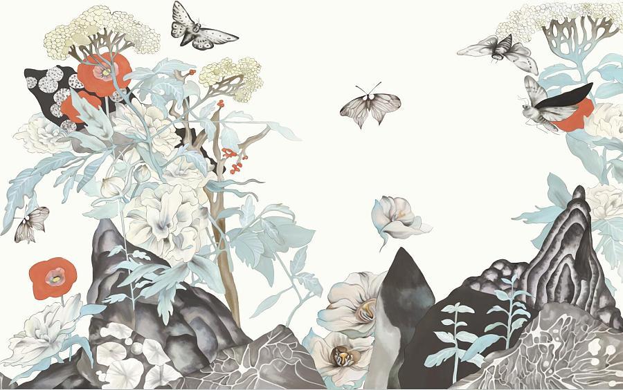 思舍布莱曼 新中式壁纸手绘水墨画个性电视背景墙纸无缝大型壁画图片