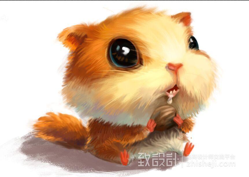 手绘 萌萌的动物松鼠|绘画习作|插画|半夏渐渐