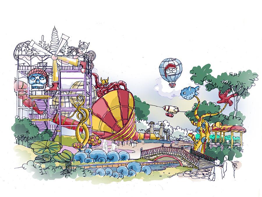 原创作品:水上乐园手绘