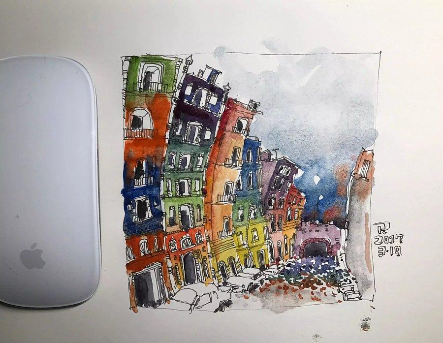 舞动的房子-手绘水彩