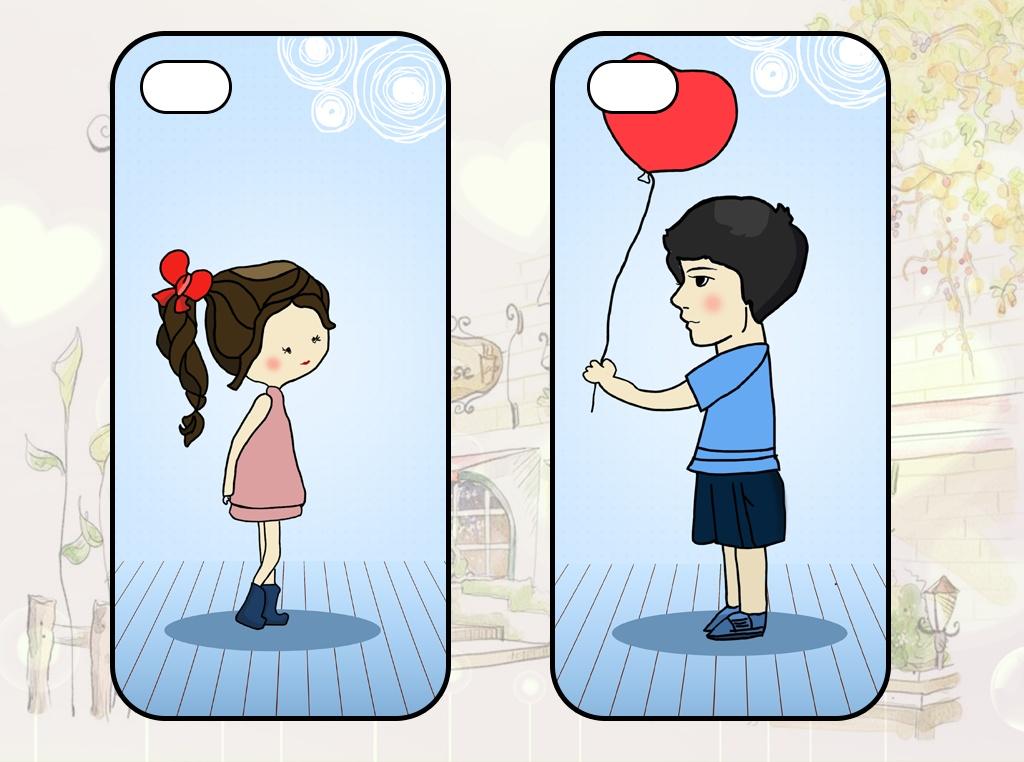 手绘情侣手机壳