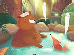 绘本插画-冬日の温泉