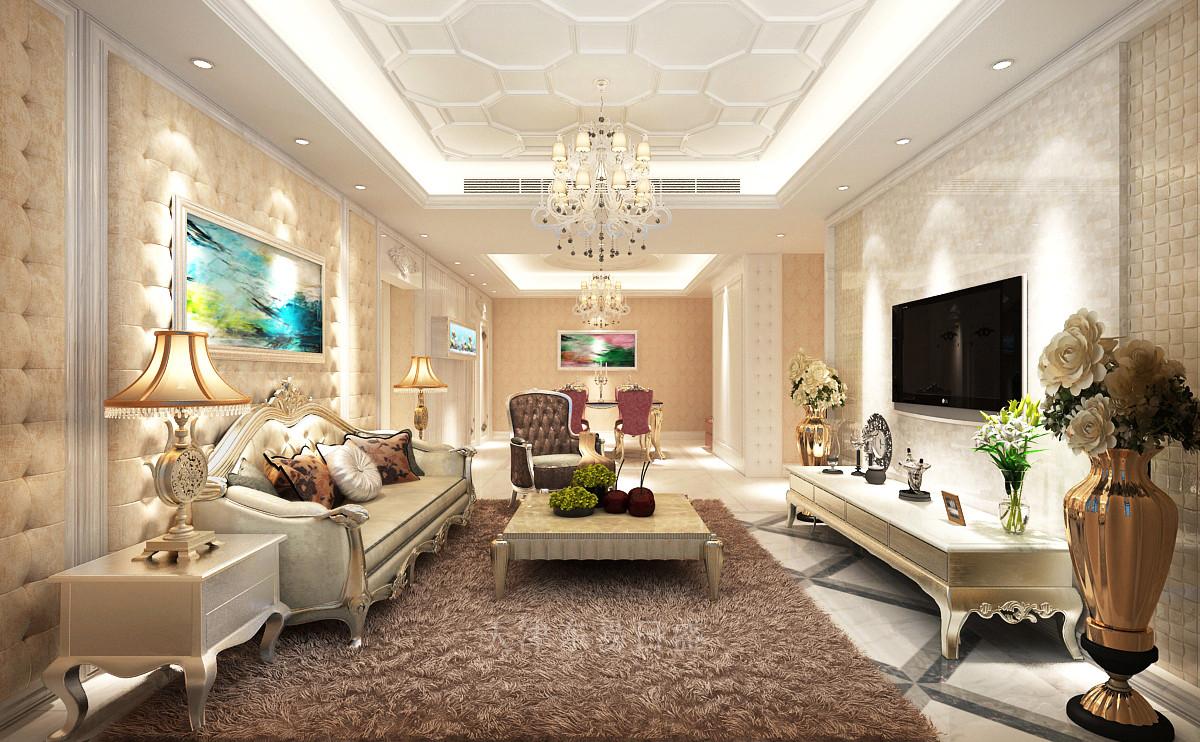 阳光经典简欧风格客厅装修效果图
