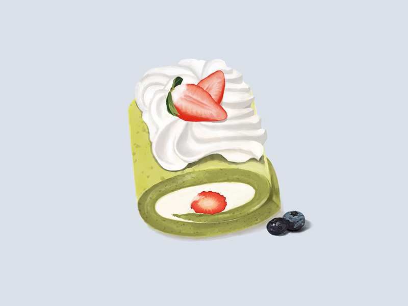 手绘甜品蛋糕卷