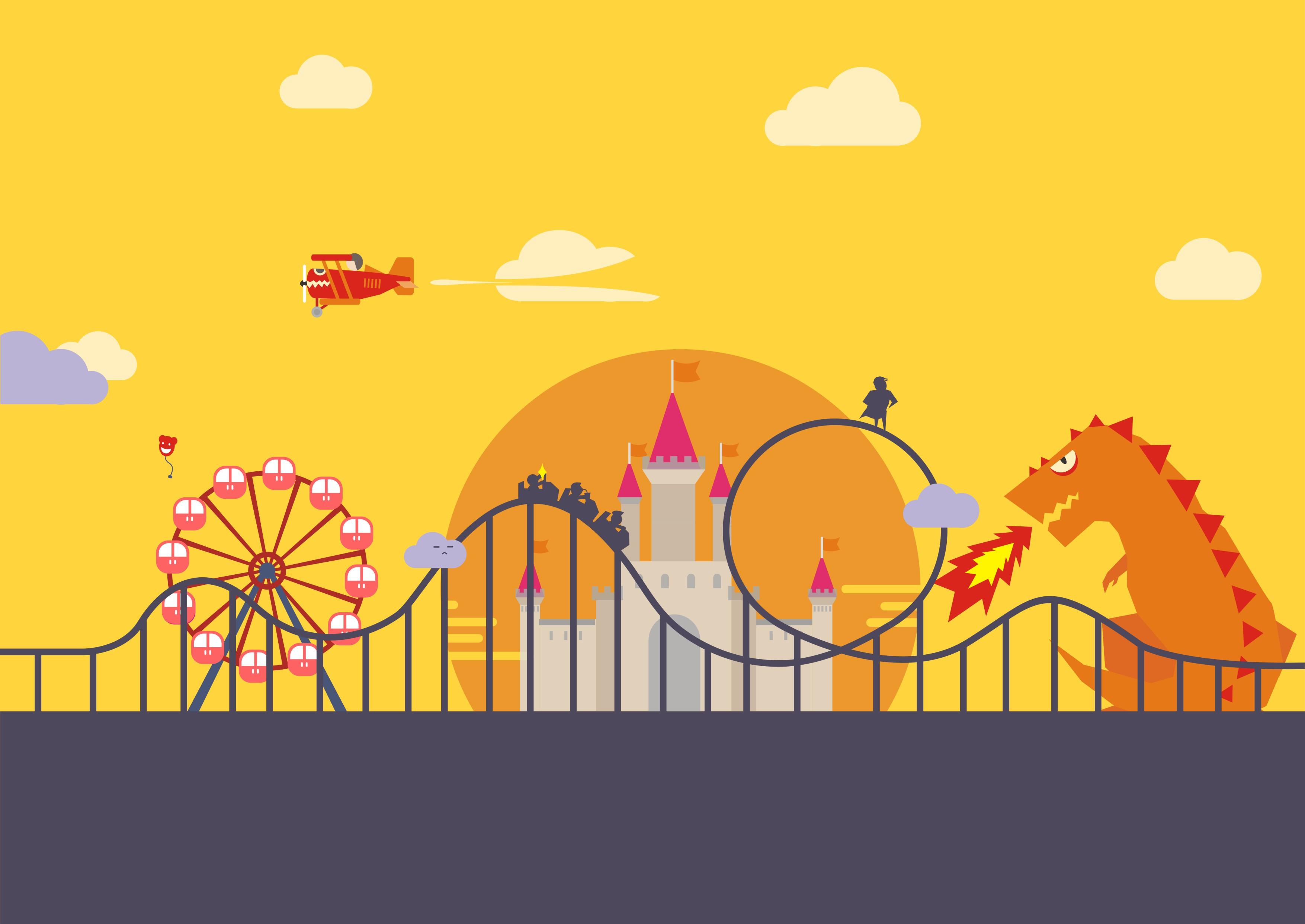 cdr 游乐园图标设计|平面|图案|躲在柱子后面 - 原创