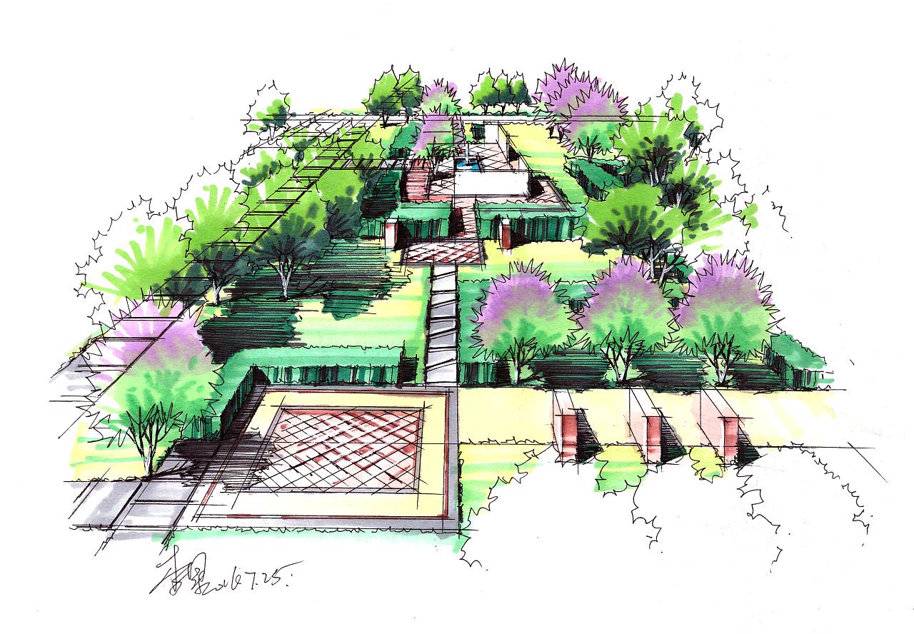 景观手绘表现|空间|景观设计|zzdy.lx - 原创作品