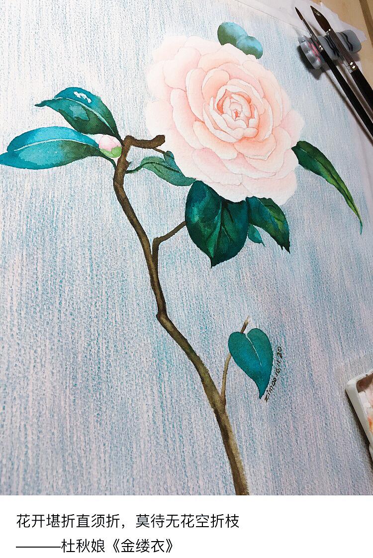 手绘水彩画牡丹|纯艺术|水彩|zimoo酱 - 原创作品