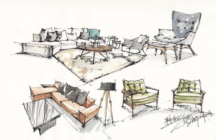 3月18—21日 单体手绘练习积累|室内设计|空间/建筑