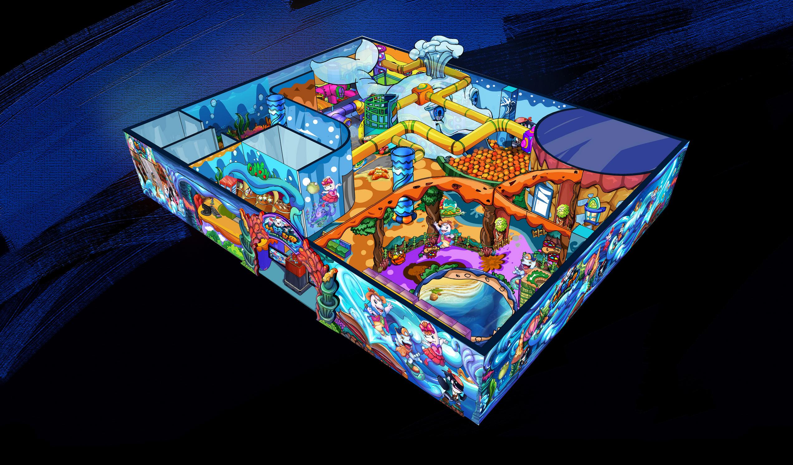 海洋主题室内儿童乐园手绘鸟瞰图