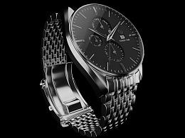 工业模型展示-钢带手表