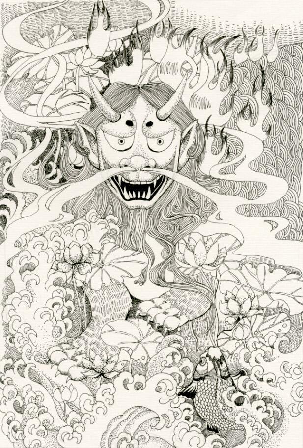 黑白油性笔绘画 笔记本